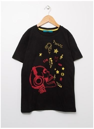 Funky Rocks Funky Rocks Çocuk Siyah Bisiklet Yaka T-Shirt Siyah